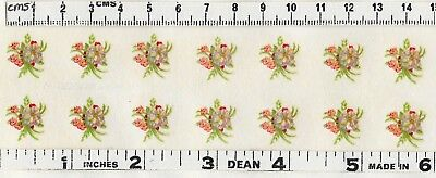 10 Pink Miniature Floral Knots mixed flowers Original VINTAGE Decals Transfers