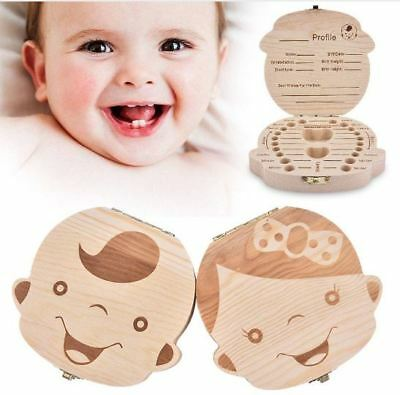 Boys & Girls Fairy Tooth Box Organize Wood Collect Case for Baby Milk Teeth Save