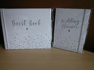 Wedding Marriage Guest Message Book or Planner Organiser Pen Silver Heart Dots