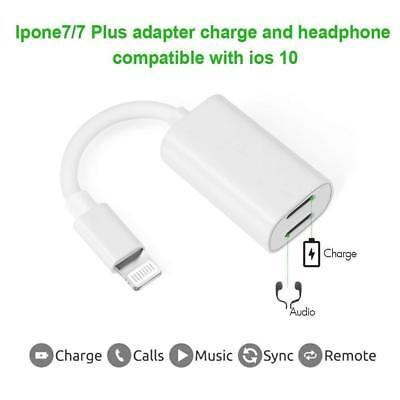 Dual Lightning Adapter Splitter, 2 in 1 Headphone Audio & Charge, Support Music