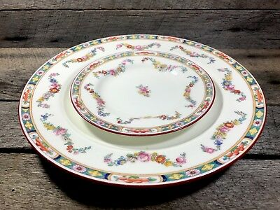 Antique Mintons Burley & Co Chicago China Dinner Plate & Saucer Set Lot Floral