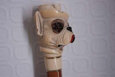 Antique Unique Bull Dog Walking Stick Masterfully Worked 1850-1890