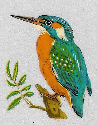 10 Kingfisher Bird decals, (Small) unique vintage decals craft image transfers