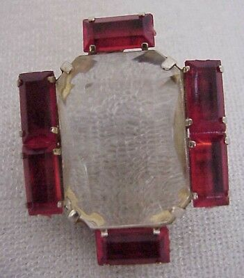 Vintage Art Deco Style Pin Brooch Ruby Red and Clear Rhinestone – Estate Jewelry