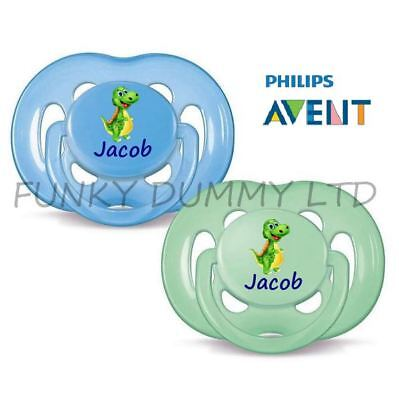 Philips Avent Personalised Dummies, Soothers, Pacifiers, Twin Pack, Dinosaur