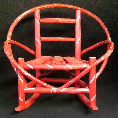 Antique Vintage Red Rocking Chair Primitive Wood Toy Rustic