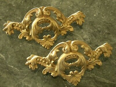 Superb Pr Antique Vtg Solid Brass French Provincial Drawer Handles Cabinet Pulls