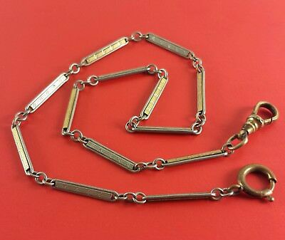 "Vintage Watch Fob Chain Gold / Silver Tone Long Wire Links ""HAYWARD"" 13 "" Long"