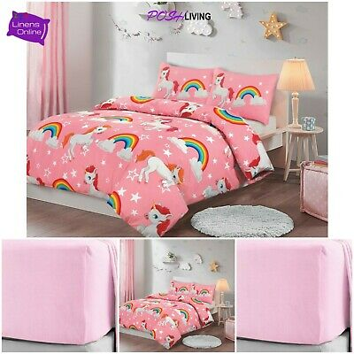 New Unicorn Kids Girls Pink Single Duvet Cover Set Bedding Matching Fitted Sheet