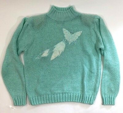 VTG 80s Maggie Lawrence Girls Sweater Sz Large 14 / 16 Butterfly Green Fairy Kei