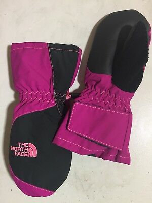 3T NWT The North Face Toddler Waterproof Insulated Adj Cuff Mittens Pink/Gray