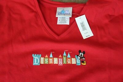 VINTAGE DISNEYLAND RESORT MICKEY MOUSE Red Woman's 100% COTTON Embrod Logo XL