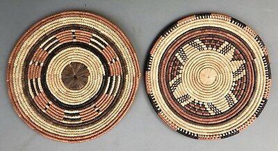 PAIR Vintage Native African Tribal Colorful Coil Weave Flat Woven Baskets 13""