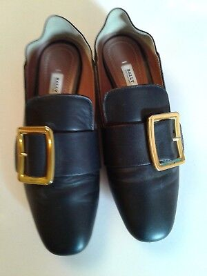 3899c9df3e5 Bally Women s Leather Loafer Shoes EU 39 US 6.5 Gold Buckle Convertible  Janelle