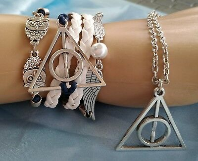 HARRY POTTER Pendant Bracelet PU Leather Deathly Hallows Golden Snitch Hedwig 2p