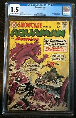 Showcase #30 CGC 1.5 1st Aquaman Tryout Issue Origin of Aquaman Off W/White