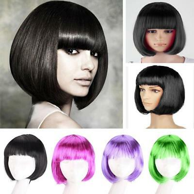 Women Heat Resistant Hair Synthetic Wig Short BOB Bangs Cosplay Full Wigs OZ#03