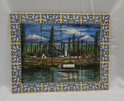 "Vintage Mexico Mexican Tile Mural 22"" X 18"" Signed"