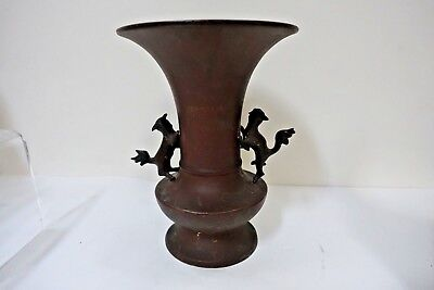FB1bx ASIAN SPELTER METAL AND BRONZE VASE WITH FOO DOGS as is