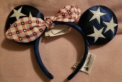 Disney Parks Minnie Mouse Ears All American Girl Red White Blue New!