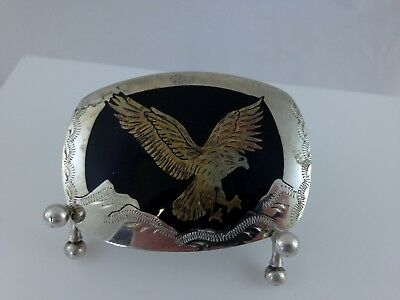 Handcrafted German Silver Vintage Belt Buckle W/ Inlaid Golden Eagle U.s.a. Made