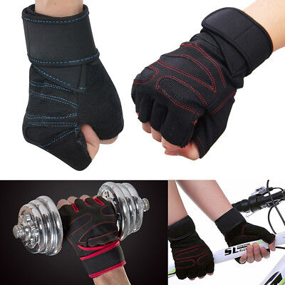 Half Finger Fitness Gloves Weight Lifting Protect Wrist Gym Training Fingerless