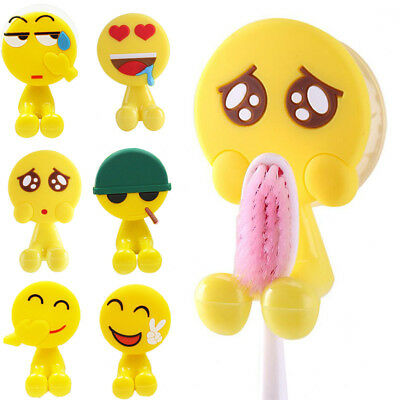 1PC Cute Cartoon Emoji Toothbrush Holder Utility Suction Hook Bathroom Decor
