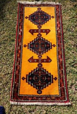 Bright yellow pure wool vintage Persian hall runner; FREE POST