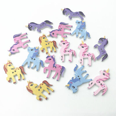 100pcs Mixed Wooden Buttons Unicorn shape Scrapbooking Sewing Kid's crafts