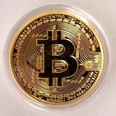 Bitcoin Commemorative Round Collectors Coin Bit Coin is Gold Plated Coins  |@