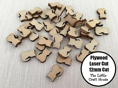 10PC 12mm Cat Wooden Laser Cut Shape Ply Blank Craft Wood Shapes Flatback Kitten