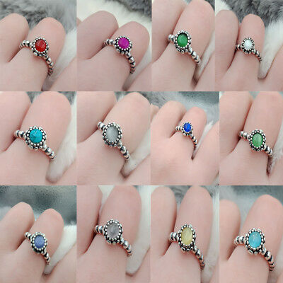 925 Silver Plated Fine Ring Fashion Jewelry Ring Rainbow Wedding Ring Sz6-10