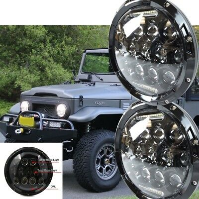 2x new 7 inch LED headlight projector lens high output DRL Halo For GQ PATROL