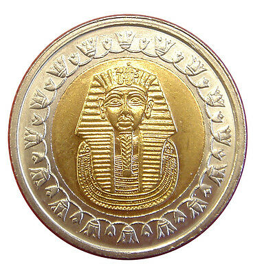 1 x COIN EGYPT 1 POUND 25 mm DIAM COIN KING TUT ANKH AMON UNC