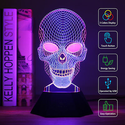 3D Skull Light LED Illuminated Illusion Desk Micro USB Night Lamp 7Colour Change
