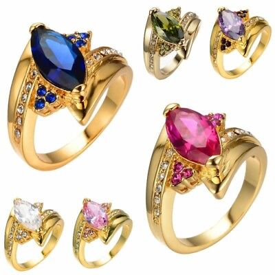 Peridot Sapphire Ring Ruby Amethyst Gemstone Crystal Women Wedding Ring Size6-10