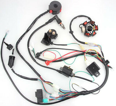 50CC-125CC Mini ATV Complete Wiring Harness CDI STATOR 6 Coil Pole Ignition Elec