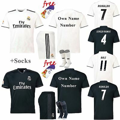 2018-19 Soccer Football Kit Short Sleeve Kids 3-12 yrs Outfit Jersey +Socks Suit