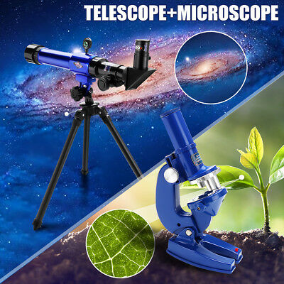 Kids Science Telescope Microscope Astronomical Toy Set Tripod Learning Children