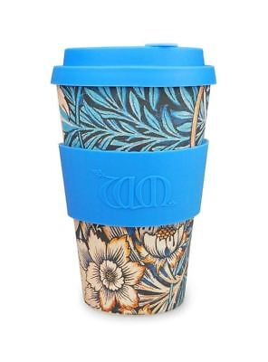 Ecoffee Cup William Morris Lily with Mid Blue Silicone Coffee Cup 400ml