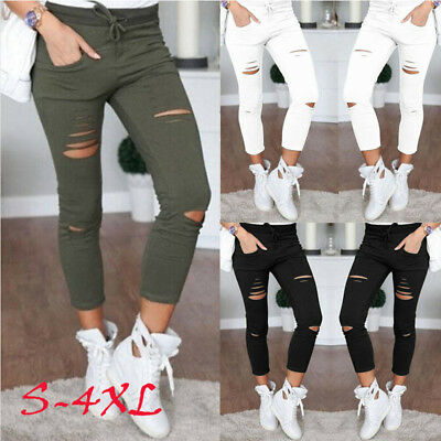 Womens Stretchy Denim Slim Fit Jeans Ripped Skinny Jeggings Pants Trousers 6-22