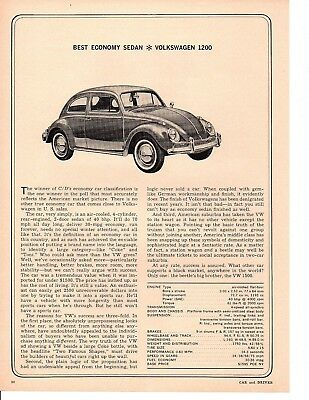 1964 Volkswagen 1200 Beetle ~ Original Single-Page Article / Ad