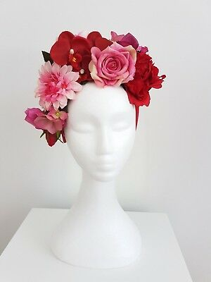 Miss Boho womens floral flower headband fascinator in Red and Pinks