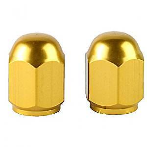 Bike It Motorcycle Tyre Pair Hexagon Gold Anodised Valve Caps BC6300 - T