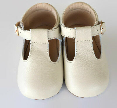 Tilly Leather T-bar shoes girls 6-24mths rubber sole baby toddler beige