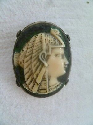 Antique Carved Cameo Brooch Pin:  NEKHBET Egyptian Vulture Goddess