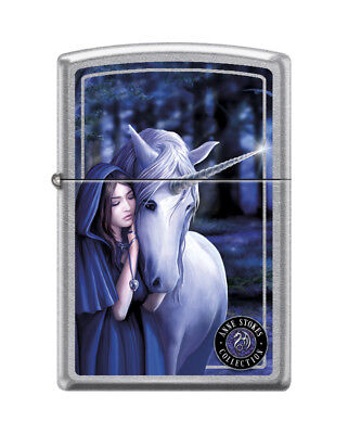 "Zippo ""Anne Stokes-Unicorn With Woman"" Street Chrome Finish Lighter,  7692"