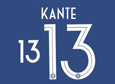Kante 13 - 18 / 19 White France World Cup Home Name Set = Player Size