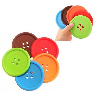 PACK OF 5 Button Silicone Non-Slip Cup Coasters Colourful Place Mats Drinks