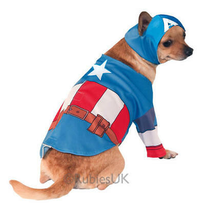 Captain America Fancy Dress Costume Outfit The Avengers Dog Pet Puppy S